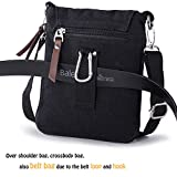 Hengwin Small Men's Bag Messenger Shoulder Purse Across Body Bags Also as Travel Belt Pouches with Belt Loop, Fits for iPad Mini (Black)
