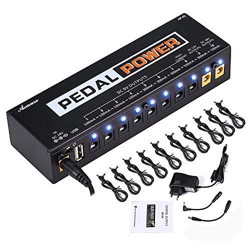 Asmuse 9v 10 Häfen Netzteil Pedal Power Supply Daisy Chain kabel effekt Adapter Rechtwinkliges Splitter Splitterkabel Blei Chord für Gitarre Bass-Effekt Keyboards