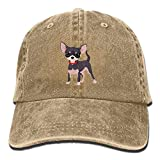 KAKICSA Funny hat Cap Men Women Classic Denim Chihuahua Adjustable Baseball Cap Dad Hat Low Profile Perfect for Outdr