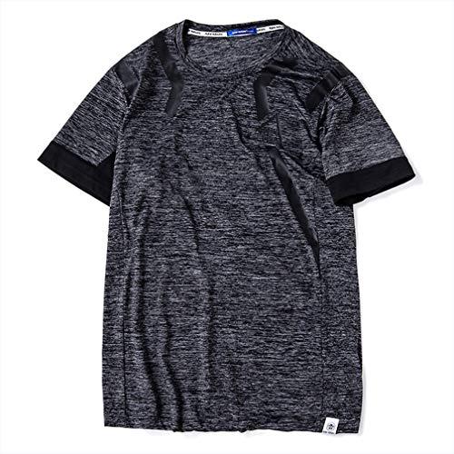 Herren Dünnschliff Ice Silk Sport Fett T-Shirt Sommer Large Size Fett Herren T-Shirt Kurzarm,Black,XXXL (Jungen Aus Fett)