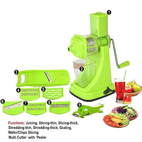 Floraware Fruit & Vegetable Manual Juicer Mixer Grinder,6 In 1 Multi-Purpose Fruit & Vegetable Slicer & Multi Veg Cutter With Peeler