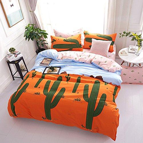 Bettwäsche Set Kaktus Pflanze Drucken Polyester-Baumwolle Bettbezug-Set Doppelbett King Size (220x240cm) (Für Leopard-druck-bettwäsche Mädchen)