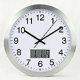 WuuLii Decor Wall clock-round calendario orologio da parete soggiorno camera da letto moderno orologio da parete silenzioso orologio al quarzo, 30,5cm 30,5cm, telaio argento bianco superficie