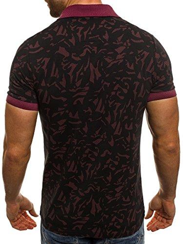 OZONEE Uomo Polo Uomo Polo T-Shirt a maniche corte Che fa risaltare la figura ZAZZONI 1055 bordeaux_ZAZ-1094P