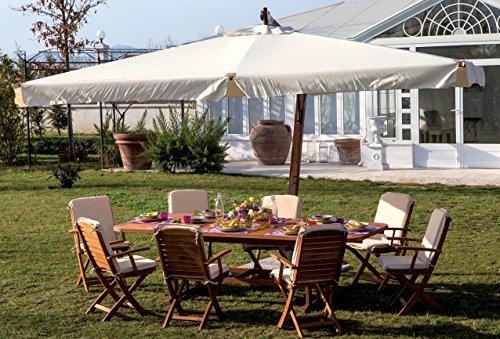 Giardini del re ombrellone giardino decentrato 3x3 mt in legno top ecrù - aster