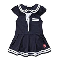 Baby Girls Sailor Style Dress Lapel Navy Cotton Dress with Big Bow Tie - -