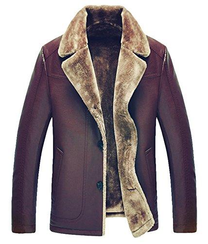 Männer Leder Pelz Dick warm Leder Jacke Revers Leder Winter Mantel (S, kastanienbraun) (Leder Kastanienbraun Jacke Herren)