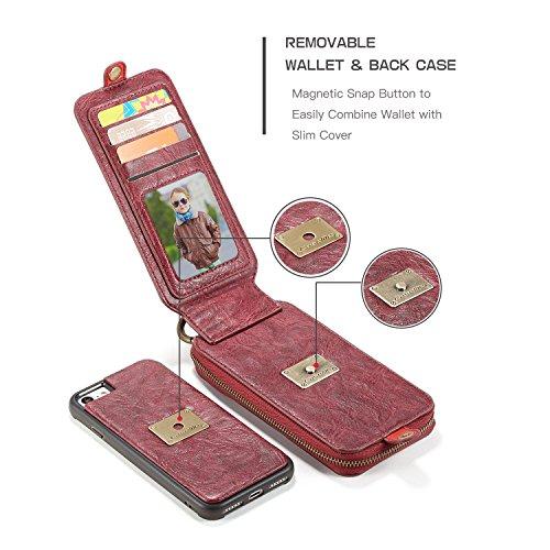 EKINHUI CaseMe Wallet Case mit abnehmbarem TPU PC Slim Back Case, Luxus Retro Serie Elegantes Leder Touchable Schirmleder für iPhone 7 iPhone 8 ( Color : Black ) Red
