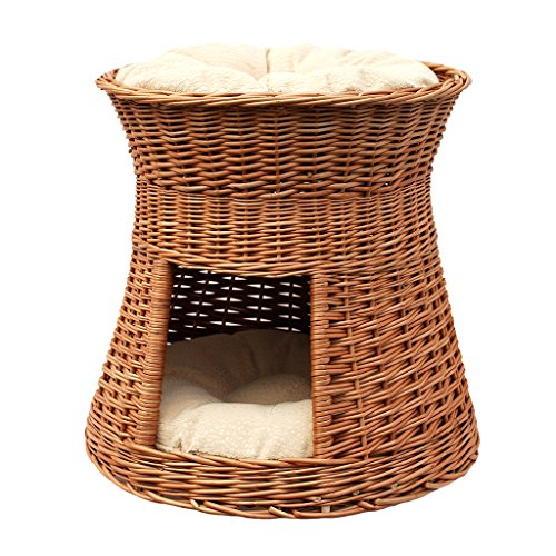 GalaDis 2-30-1 Katzenhöhle/Katzenkorb / Katzenbett aus Weide Zwei Kissen. EIN Katzenturm für Ihre Katze zum Ruhen und Spielen. (Kissen hell)