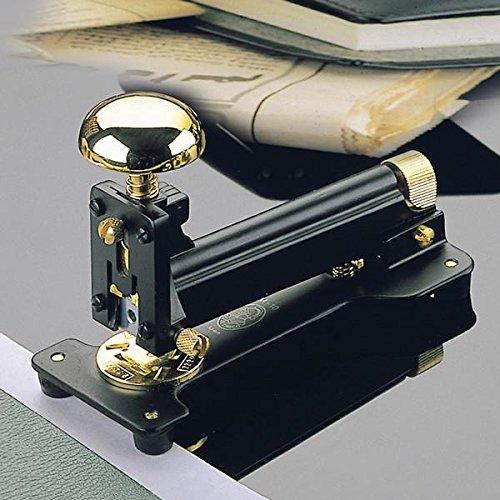 El Casco - Grapadora de mesa (chapado en oro de 23 quilates), color negro