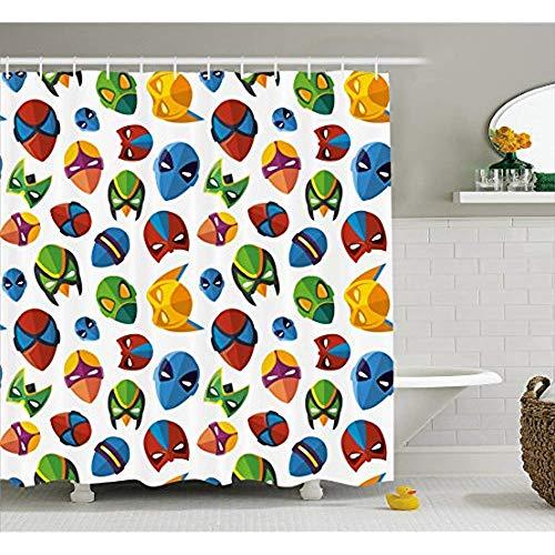 Yeuss Superheld Duschvorhang, legendäre Cartoon Charakter Masken Flash Batman Spider-Man Comic Kostüm Print,Stoff Badezimmer Dekor Set mit Haken,Multicolor (Batman 66 Kostüm)