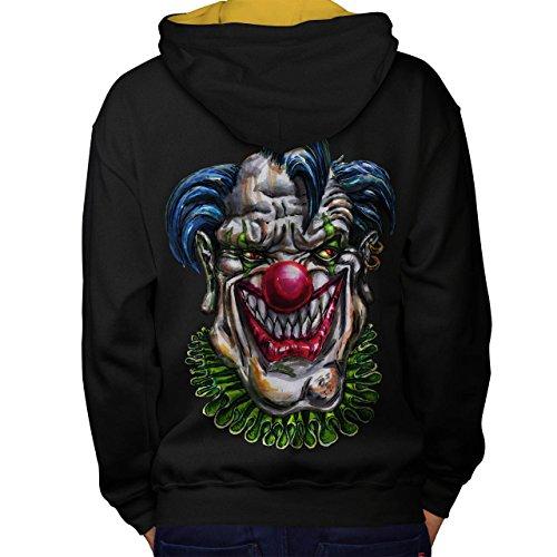 Böse Monster Clown schaurig Lachen Men M Kontrast Kapuzenpullover Zurück | (Clown Gedruckt Böse Kostüme)