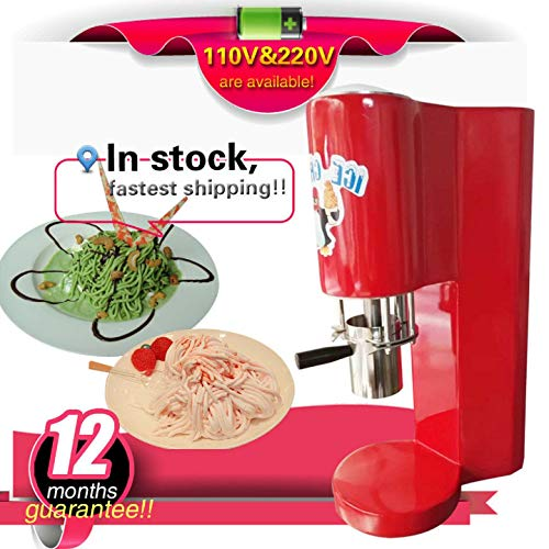 TX® Spaghetti-Eisbereiter Nudeleismaschine Star Type Ice Cream maschine 4 Arten Forming Outlet Spaghetti Gelato Maker (red, 110V/60HZ) (Red Ice Cream Maker)