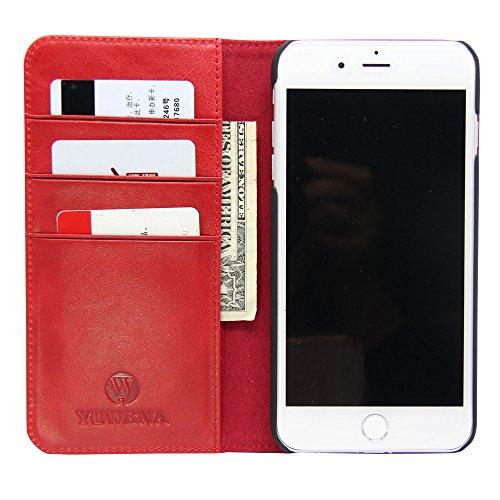Wallet Case für iPhone 7 Plus, iPhone 8 plus Ledertasche, Folio Leather Case mit [kickstand] [Card Slots] [magnetische Schließung] rot Red