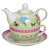 Tea for one Set Teekanne Porzellan bunt Teeset Teeservice Schmetterling