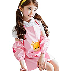 Happy Cherry (Set/2 Piezas) Impermeable Blusón Cartoon Blusón Mandil Delantal de DIY Pintura Infantil con Manguitos para Niños Niñas Dibujar Artes Talla L Rosa