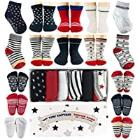 Toddler Boy Non Slip Socks, Best Gift for 1-3 Year Old Boys Baby Gifts Anti Slip Non Skid Grip Socks Gift Set by Tiny Captain (Red and Black)