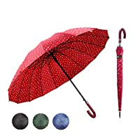 Menghao J Handle Large Umbrella Polka Dot 16 Ribs Quick-Drying Automatic Open Windproof Waterproof Stick Umbrellas for Men Women