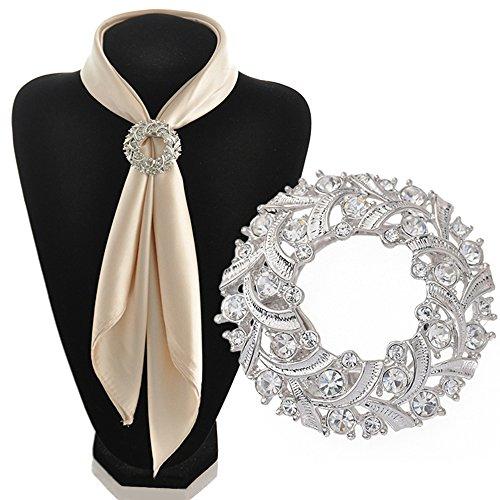 Gemini_Mall Tuchspange/Tuchclip, elegant, klare Strasssteine, für Schal und Tuch, Damen, silberfarben