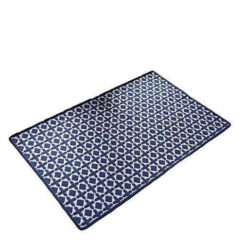 Vantextile Bereich Teppich Teppich Kollektion Massiv-Gitter Design Indoor & Outdoor Läufer Greifer Modern für Wohnzimmer, Schlafzimmer, und Küche 2'10,2cm X3' 27,9cm 2'4''x3'11'' Blau - 2 Moderne Teppich-kollektion