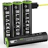 Blackube 600mAh 1.5V AAA atería de Litio 1200 Ciclo de Pilas Recargables para los Equipos Domésticos con Estuches de Almacenamiento (4 Piezas)