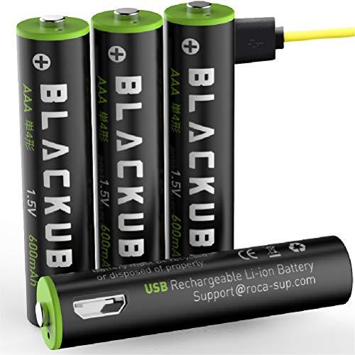 Blackube Micro USB Rechargeable Accu - USB Accu AAA Micro Lithium Batterie -1.5V 600 mAh - Umweltschutz wiederaufladbar ohne Memory-Effekt