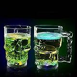 BigFamily Creative LED Bar Pub Bière Vin Boisson à l'eau activée Tête de Mort Tasse mug de Boisson Flash