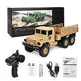 HKFV WPL B-16 1:16 4WD RC Militär Truck Wireless Fernbedienung Auto Spielzeug Frecher Drache Sechsrad-LKW Cartoon Car (Khaki)