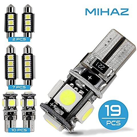 MIHAZ Universal 19pcs Can-bus Error Free 5050 LED Bulbs Car Interior Festoon LED Bulb 12V Car Exterior Light Replacement T10 / 41mm / 42mm