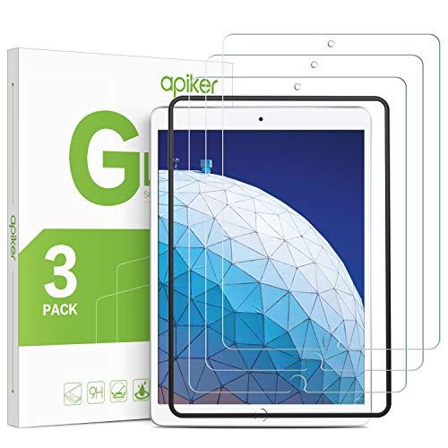 Apiker [3 Stück] Schutzfolie für iPad Pro 10.5 / iPad Air 3 / iPad Air 10.5, iPad Pro 10.5 / iPad Air 3 Panzerglas, 9H Härte, Bläschenfrei, 2.5D abger&et Kante, mühelosanzubringen