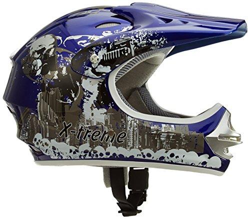 Motorradhelm Kinder Cross Helme Sturzhelm Schutzhelm Helm für Motorrad Kinderquad und Crossbike in blau (Large)