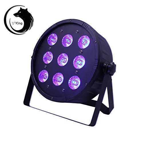 U`King DMX512 Par Licht Lichteffekt Bühnenbeleuchtung 4 in 1 RGBW Partylicht mit 4 LED Display automatisierte und Sprachaktivierte Stage Lights,Stimmungsleuchten für Disco, Ballsaal,Bar,Bühne,Club,Party und Weihnachten (Typ1-9LED) (1 Licht 8 Cast)