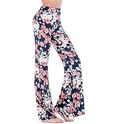 Impresión Digital De Flores Hippie Pierna Ancha Quemada Pantalones De Campana Inferior M