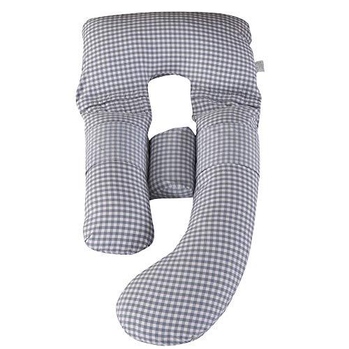 HONGBI U-förmiges Schwangerschaftskissen Stillkissen Babystillkissen Seitenschläferkissen Lagerungskissen Abnehmbarem und Waschbarem Blau1 Kissen+Strohmatte:170x80cm