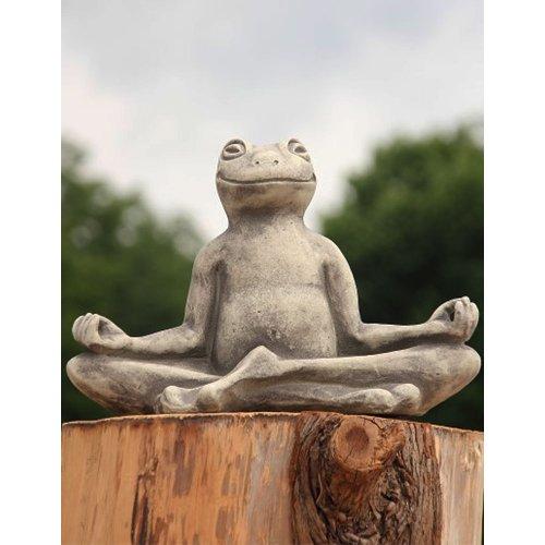 Yoga-Frosch, Steinguss Gartenskulptur, groß - B/H: 40/29 cm, wetterfeste Figur für den Außenbereich