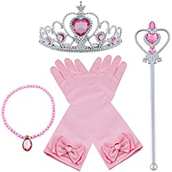 Vicloon Princesa Vestir Accesorios 4 Pcs Regalo Conjunto de belleza corona Sceptre Collar Pendientes Guantes para Niña (Rosa)