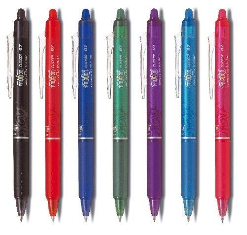 PILOT Tintenroller FRIXION BALL CLICKER Profi 07, 7-er Set Alle Farben: blau, schwarz, rot, grün, pink, violett, hellblau (7er Set   ohne Box, sortiert   Clicker) - 7-ball-set