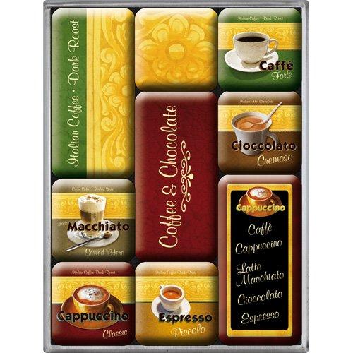 Nostalgic-art 40361138301 set di 9 magneti coffee & chocolate, acciaio, multicolore, 9 x 7 x 2 cm