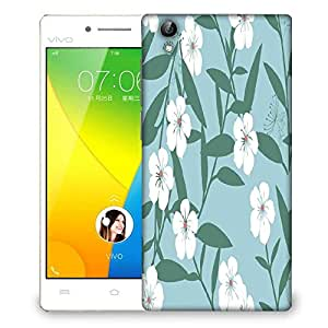 Snoogg White Flower And Green Designer Protective Phone Back Case Cover For VIVO Y51 L