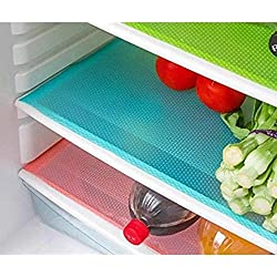 Yellow Weavestm Refrigerator Drawer Mats / Fridge Mats Pack Of 6 Pcs 12X17 Inches(Multi Colors)