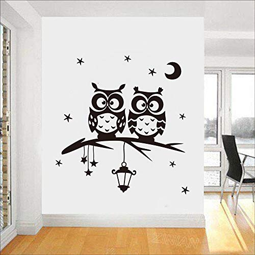 Star Moon Owl Aufkleber Wohnzimmer Wandaufkleber Art Decor Home Decor Abnehmbare Wandtattoos Cartoon Vinyl Wandaufkleber 58 X 60 CM