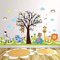 "Wallflexi Office Home Decoration Wall Stickers ""Happy Hills & Zoo"" Wall Murals Removable Self-Adhesive Decals art Nursery Kindergarden School Baby Toddler Children Kids Room Decoration, multicolour"