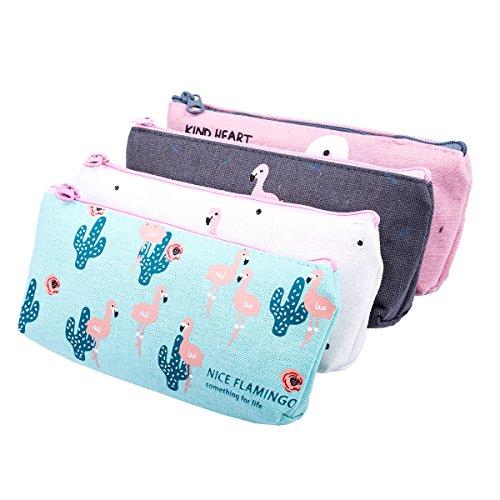 r Flamingo Leinwand Federmäppchen Stiftemappe Stationäre Tasche Bleistift Cases Kosmetiktasche mit Reißverschluss (Kleine Leckerbissen Taschen)