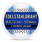 Edelstahldraht V2A - Ø 0,10 mm 50 Meter (0,12 EUR/m) Edelstahl Draht Heizdraht Widerstandsdraht Wickeldraht AWG38 0,1