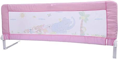 Bettgitter Bettschutzgitter Klappbar Tragbares Faltbar bettschutzgitter für Baby Kinder 180 cm/ 150 cm (Rosa/Blau)