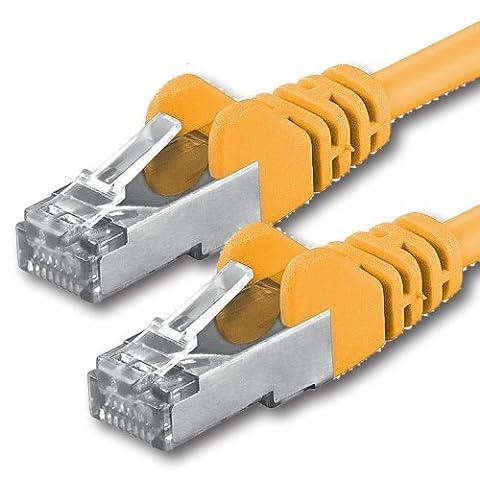 1aTTack CAT 5e foliengeschirmt FTP Netzwerk Patch-Kabel mit 2x RJ45 Stecker 10m gelb