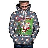 Hanomes Herren 3D Druck Kapuzenpullover Hoodie Sweatshirt Grafik Langarm Pullover Weihnachten Top Jumper Unterhaltung Shirt