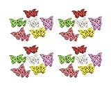 Deko-Schmetterlinge aus Holz bunt 48 Stück