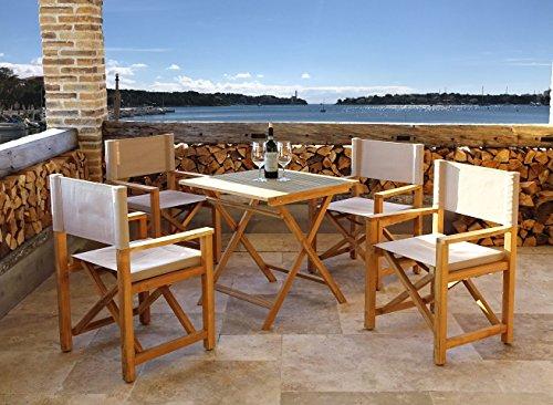 Teak-5 Stück (4 Stück Teak Sessel mit Teak Gartentisch 70x70cm Gartenmöbelset Sitzgruppe)