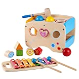 Wooden Learing Hammering & Pounding Toys + 8 Notizen Xylophone + Form Farbe...